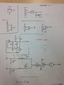 A circuit diagram showing a circuit built in several parts